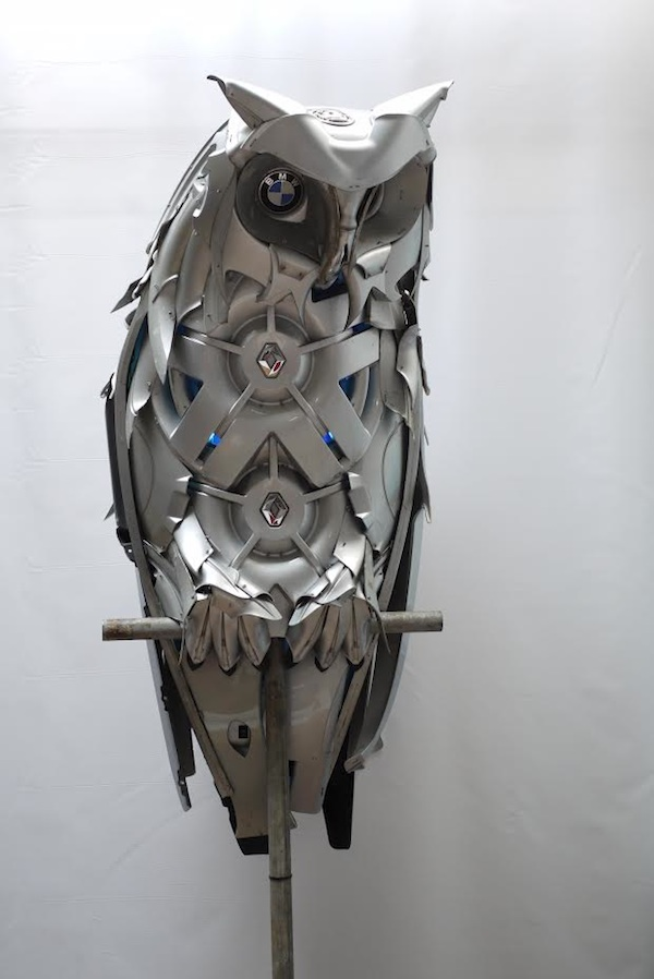 Discarded Hubcaps Owl
