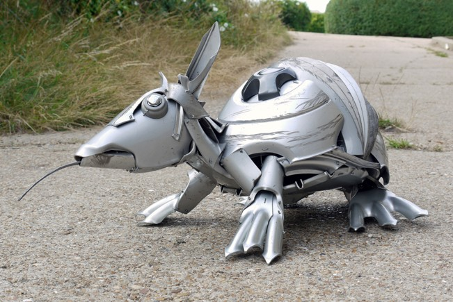 Discarded Hubcaps armadillo