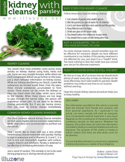 Kidney Cleanse With Parsley