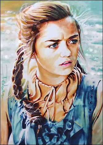 Game of Thrones Fan Art - Arya Stark in Watercolour by DavidDeb