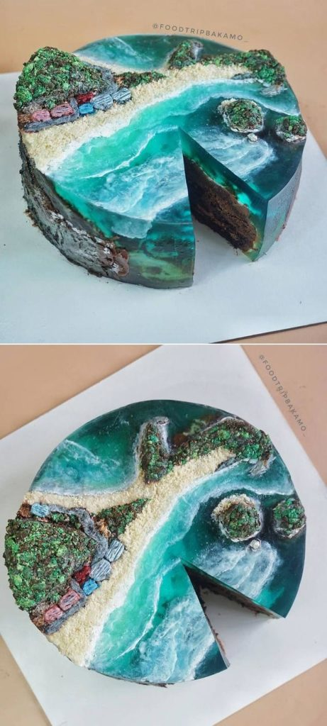 Island Cake or Island Jelly Cake Art -  a real work of art