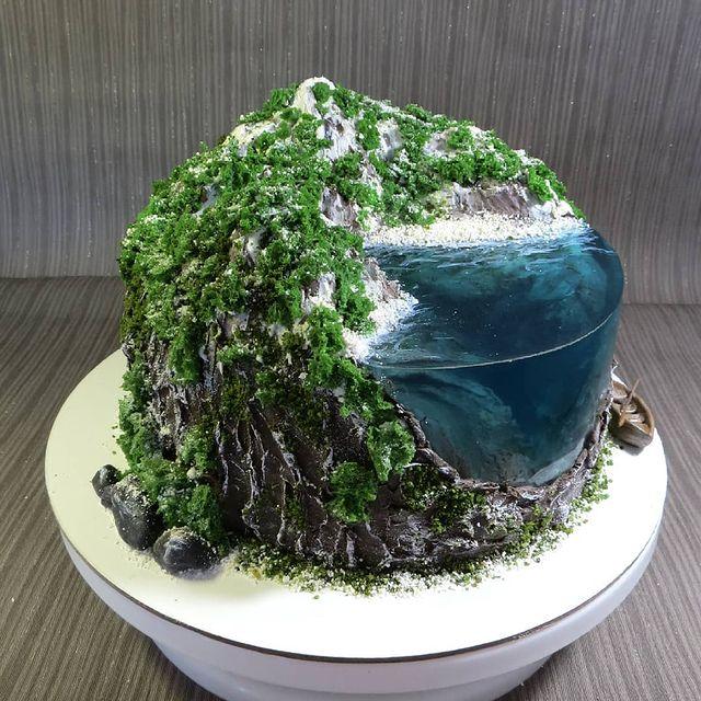 Island Cake or Island Jelly Cake Art