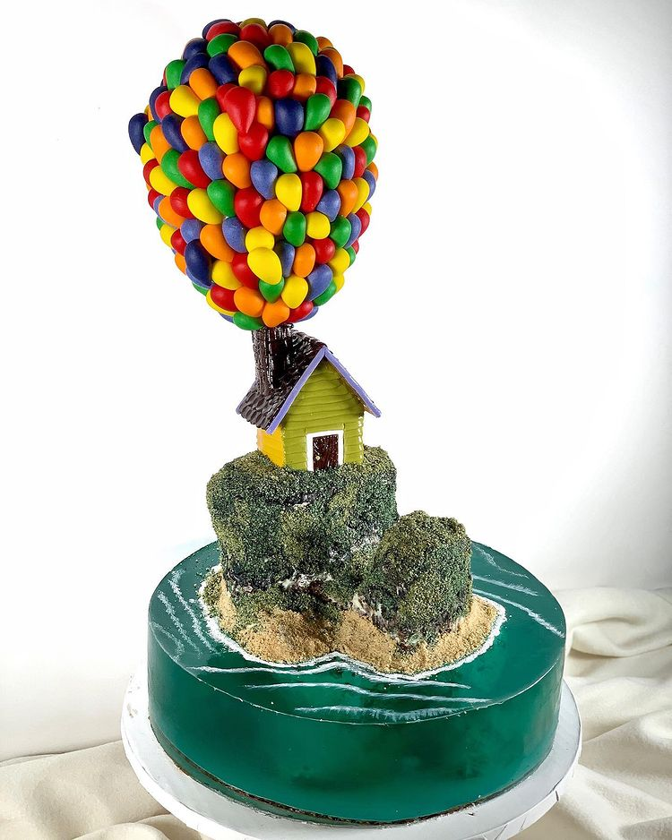 Inspired by Up, up and away--Island Jelly Cake Art