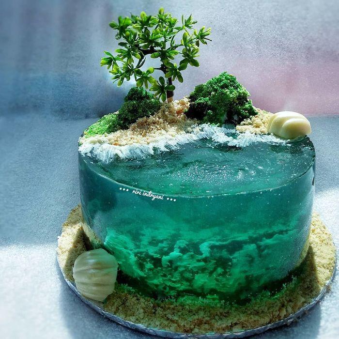 Island Cake or Island Jelly Cake with sea shells and sandy beach