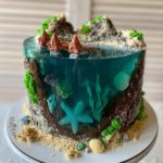 island cake made with jelly and other edible decorations